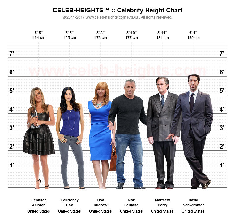 Courteney Cox on Height Chart